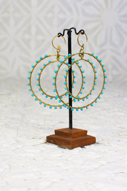 Brass Double Hoop Earrings with Turquoise