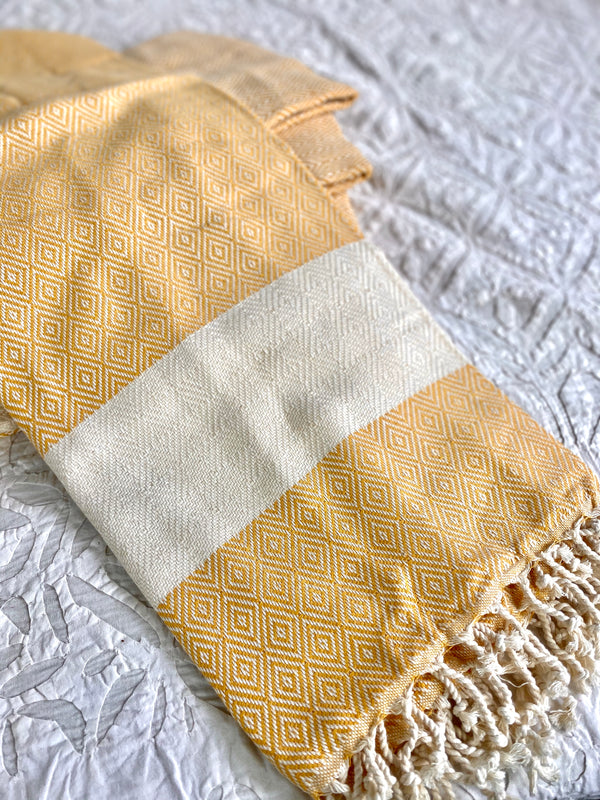 Turkish Towel Mustard and Cream