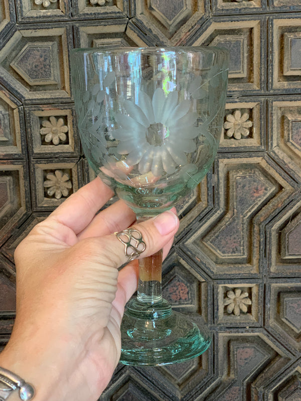 Hand Engraved Wine Glass