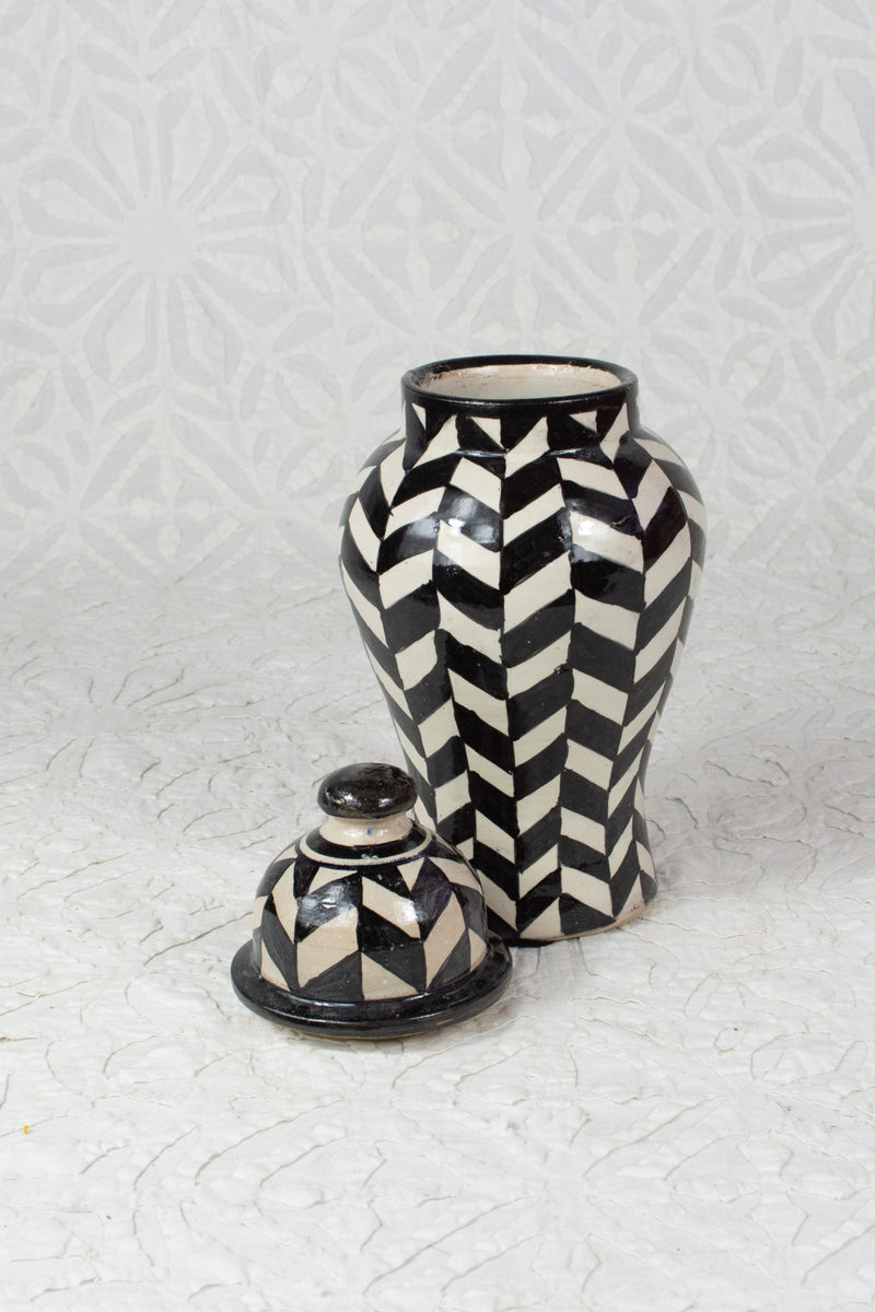 Graphic Black and White Vase from Fez