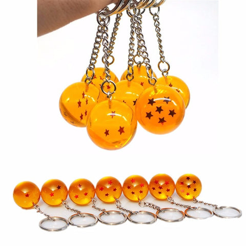 2.5cm Dragon Ball Z Crystal Balls 7 Stars Crystal Balls Keychain Pendant Complete Set Child Toys Anime Action Figure