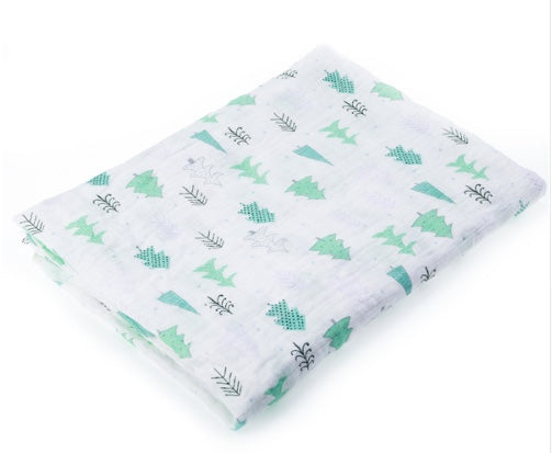 100% Cotton Muslin Swaddle - Cute Green Trees