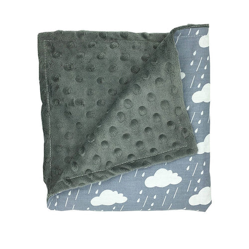 Grey Clouds Baby Security Blanket Super Soft Minky (double layered)