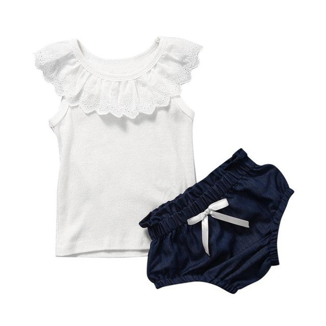 Adorable Baby 2PCS Set Solid Toddler Baby Girls Outfits Ruffled Lace T-shirt + Bubble Pants Casual Kids Clothes Outfit Set