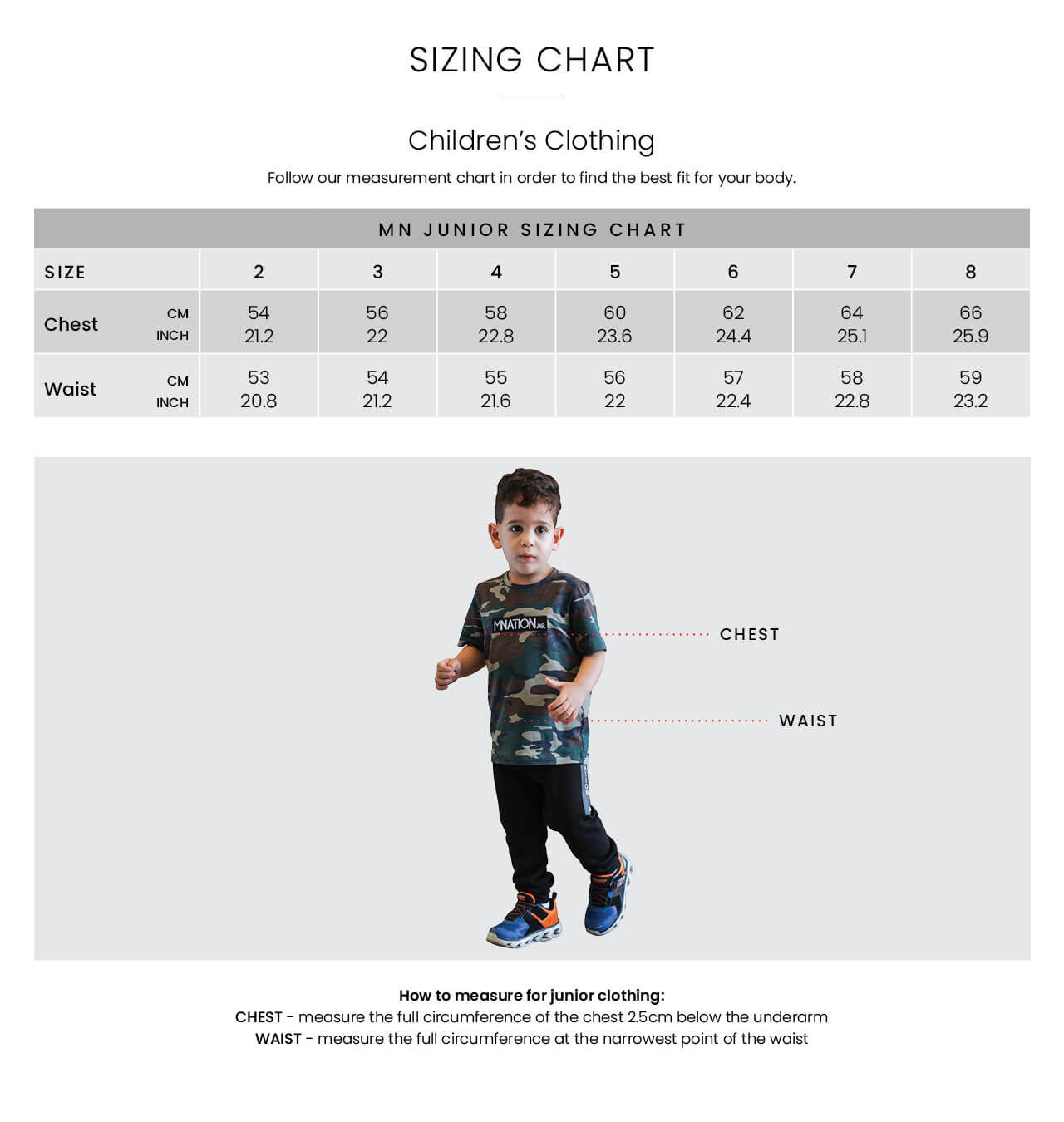Kids Size Guide