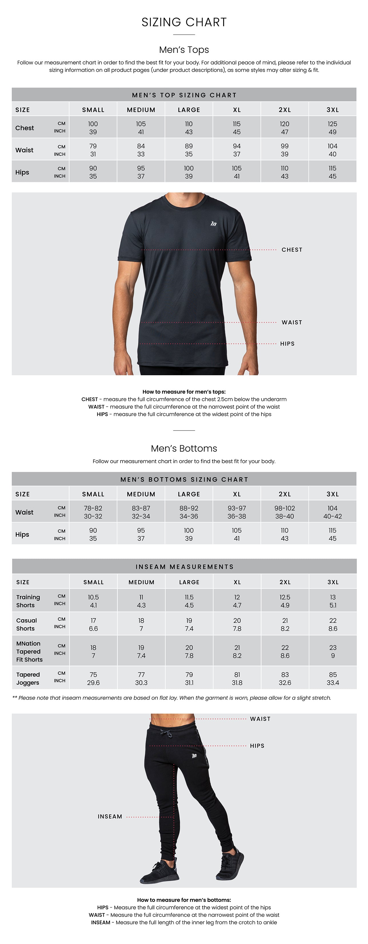 Muscle Nation Mens Size Chart