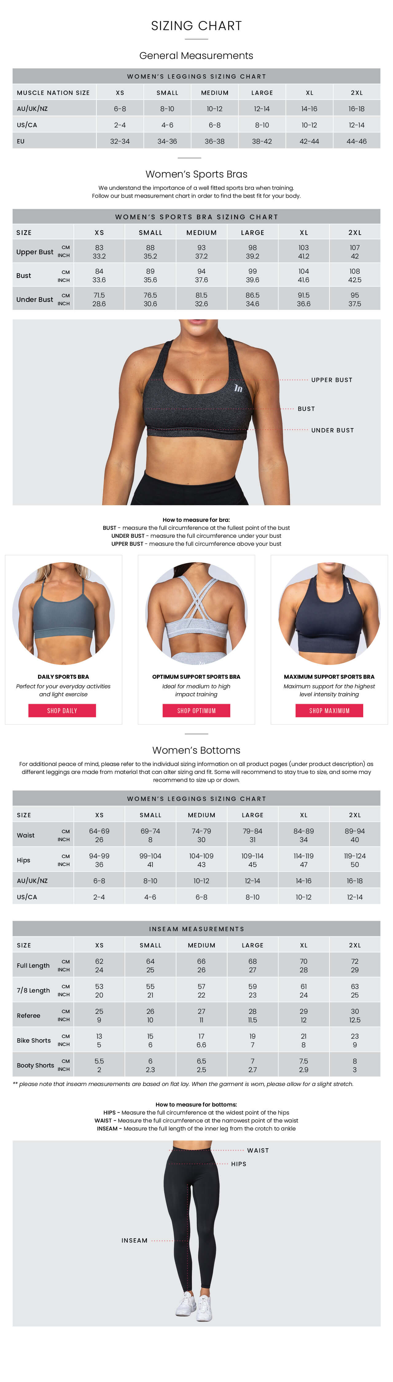 Muscle Nation Womens Size Guide