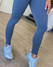 Ankle Length Scrunch Leggings - Titanium
