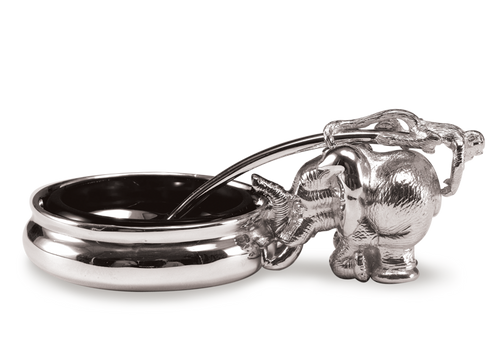 In the much-loved Ele Mustard Pot, the elephant holds the pot whilst a monkey forms part of the spoon and lies across the top of the elephant and tickles his friend's bum.