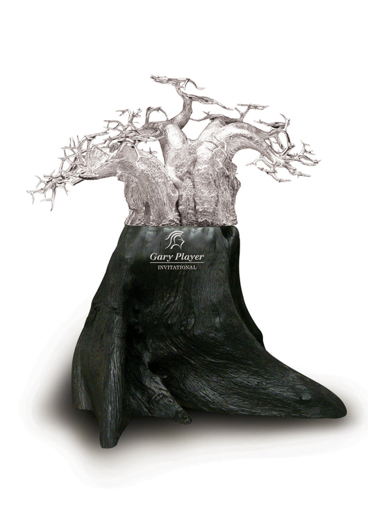 Made for the Gary Player Invitational, a Sterling Silver Baobab Tree on blackwood base