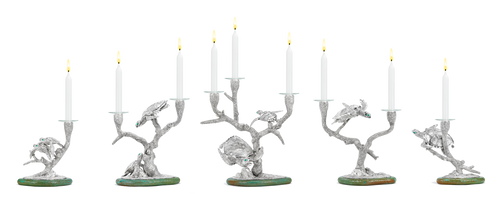 Forbes completes his first table centrepiece candelabra, a scene of Hawksbill Turtles swimming through stag horn coral trees that hold the candles. Their eyes are set with emeralds and the tableau is further lit by gemset Sea Urchin tea light holders.