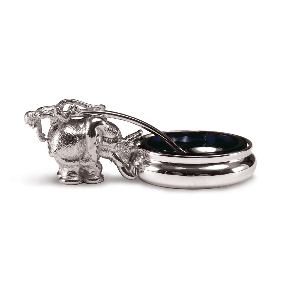 Elephant & Monkey Mustard Pot in Sterling Silver