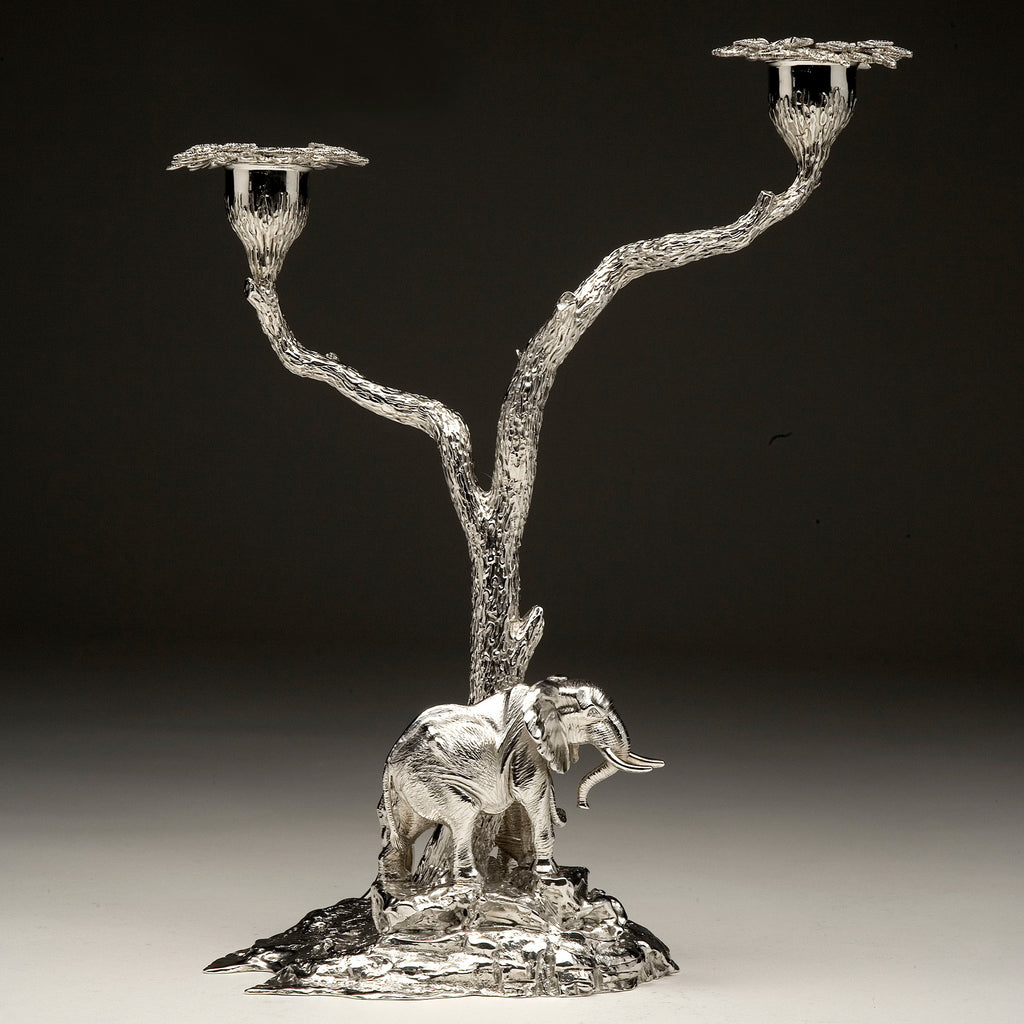 Elephant & Mopane Tree Candelabra Pair in Sterling Silver