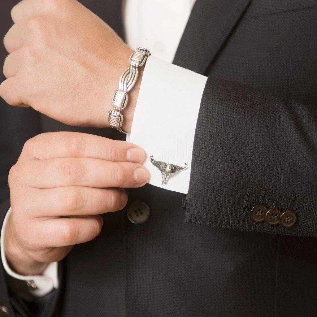 Model Wearing Buffalo Skull Cufflinks in Sterling Silver and Mens Elephant Hair Bangle in Sterling Silver