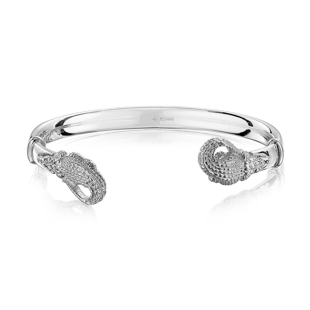 Crocodile Wire Cuff in Sterling Silver