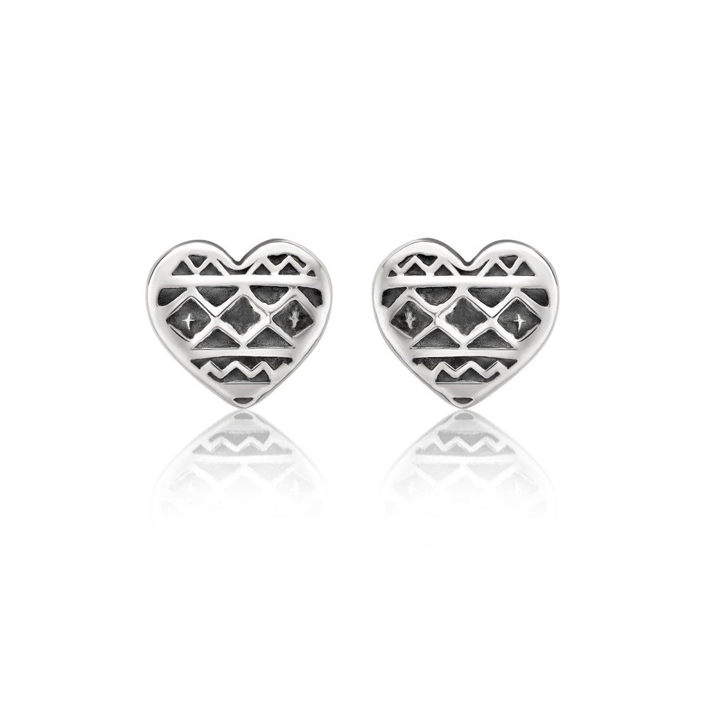 Heart of Africa Stud Earrings in Sterling Silver