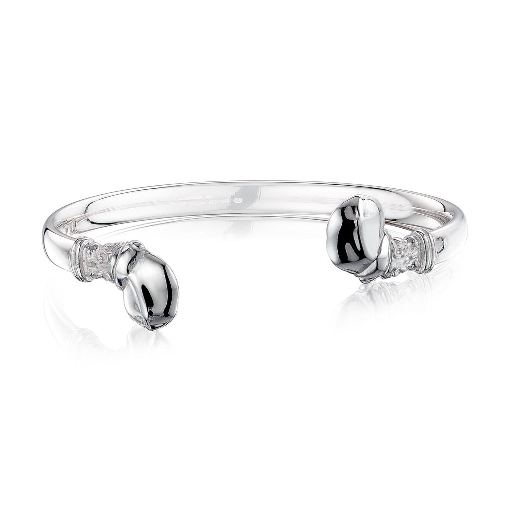 Hippo Wire Cuff Bangle in Sterling Silver