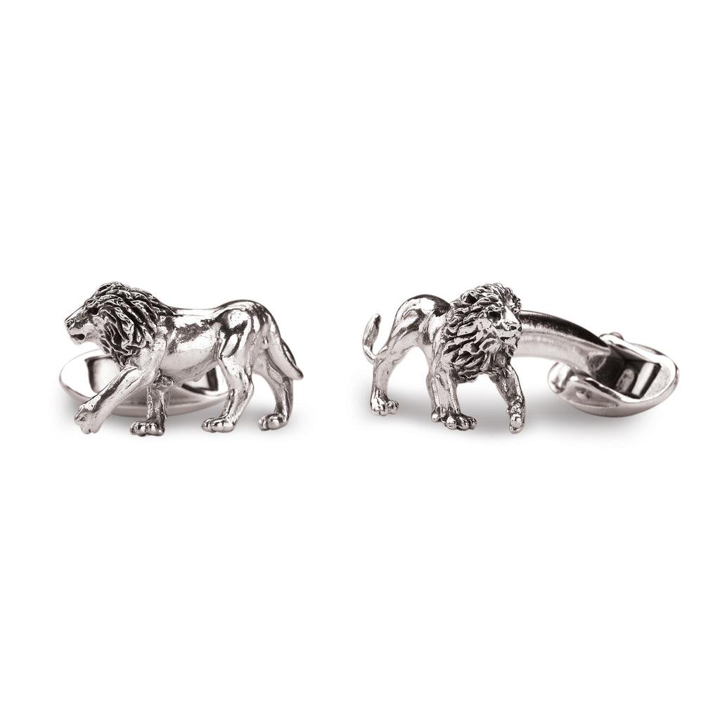 Walking Lion Cufflinks in Sterling Silver
