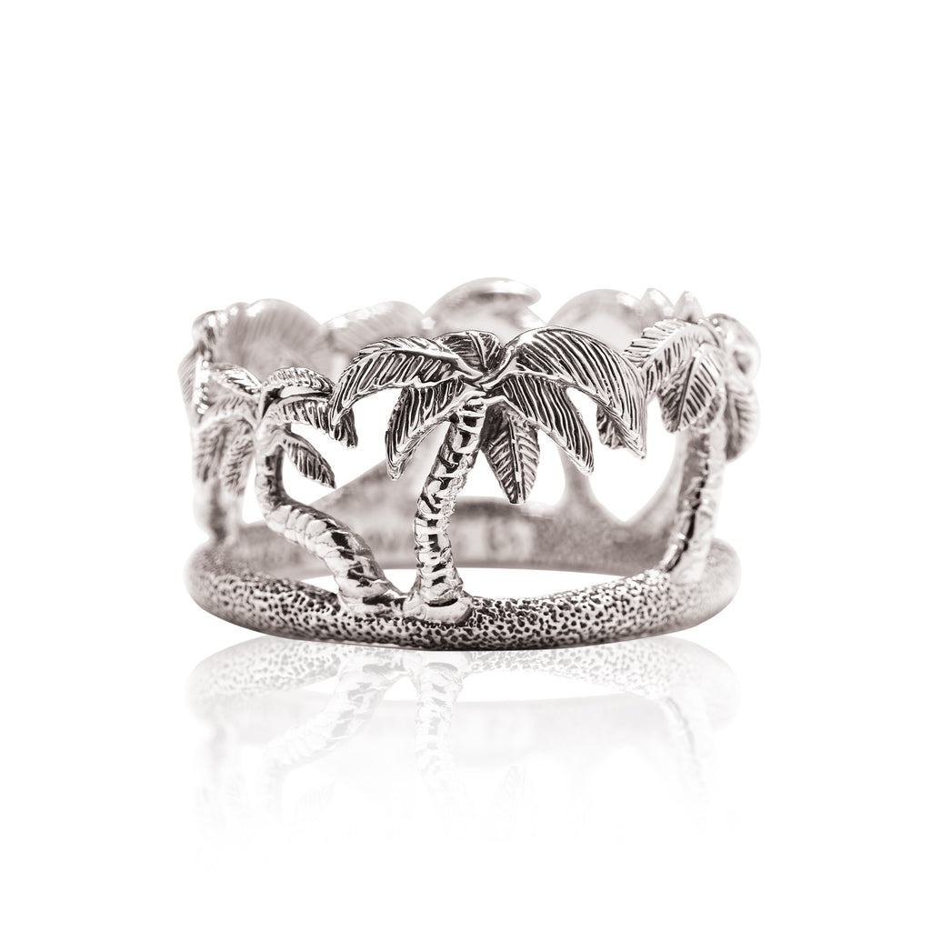 Palm Tree Napkin Ring in Sterling Silver