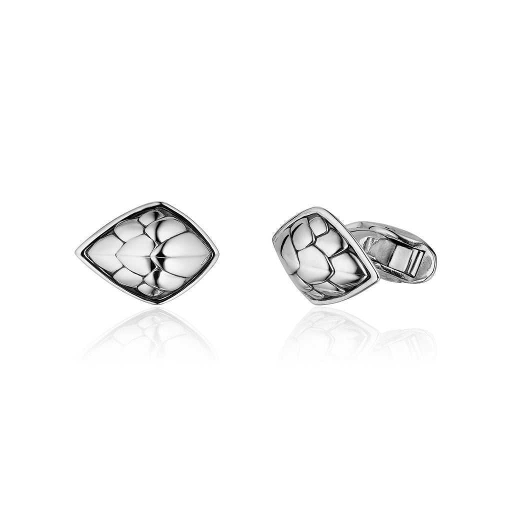 Pangolin Shield Cufflinks in Sterling Silver