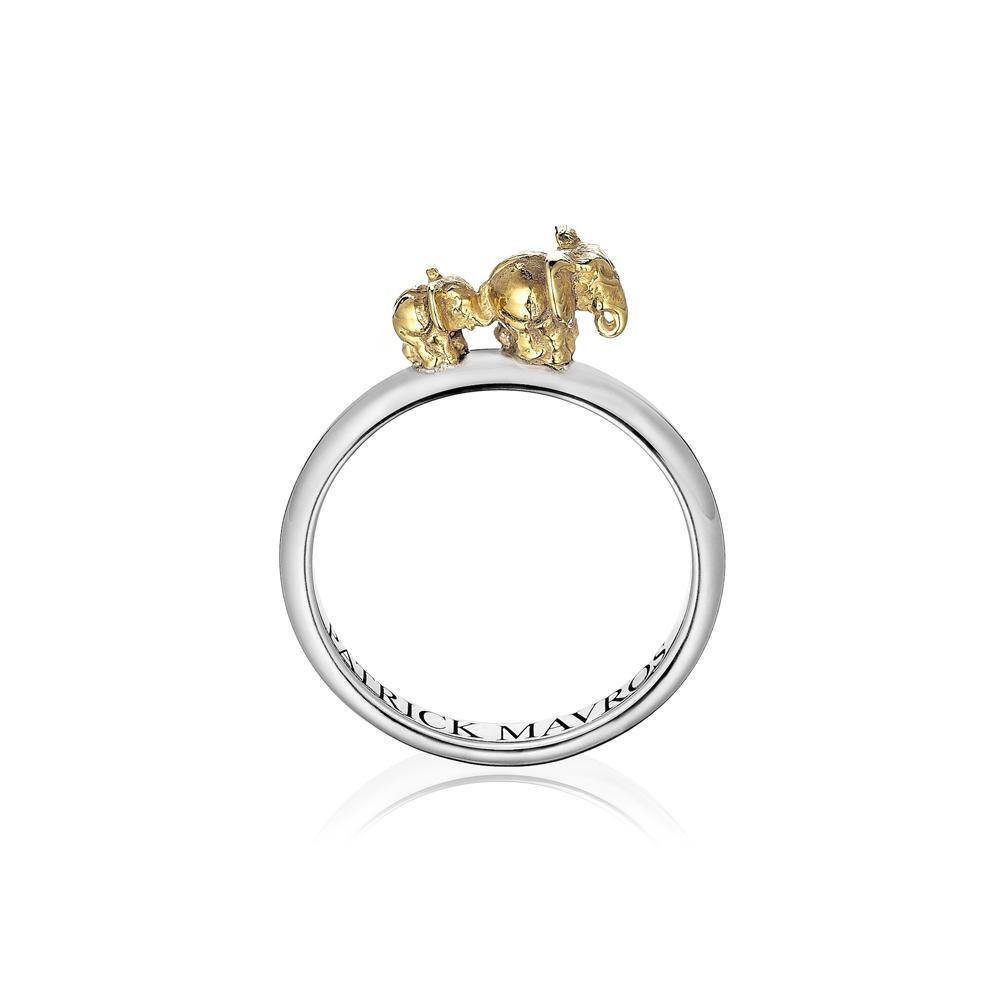 Animal Lover Ma & Ba Ele Mini-Ring in Silver & 18ct Gold