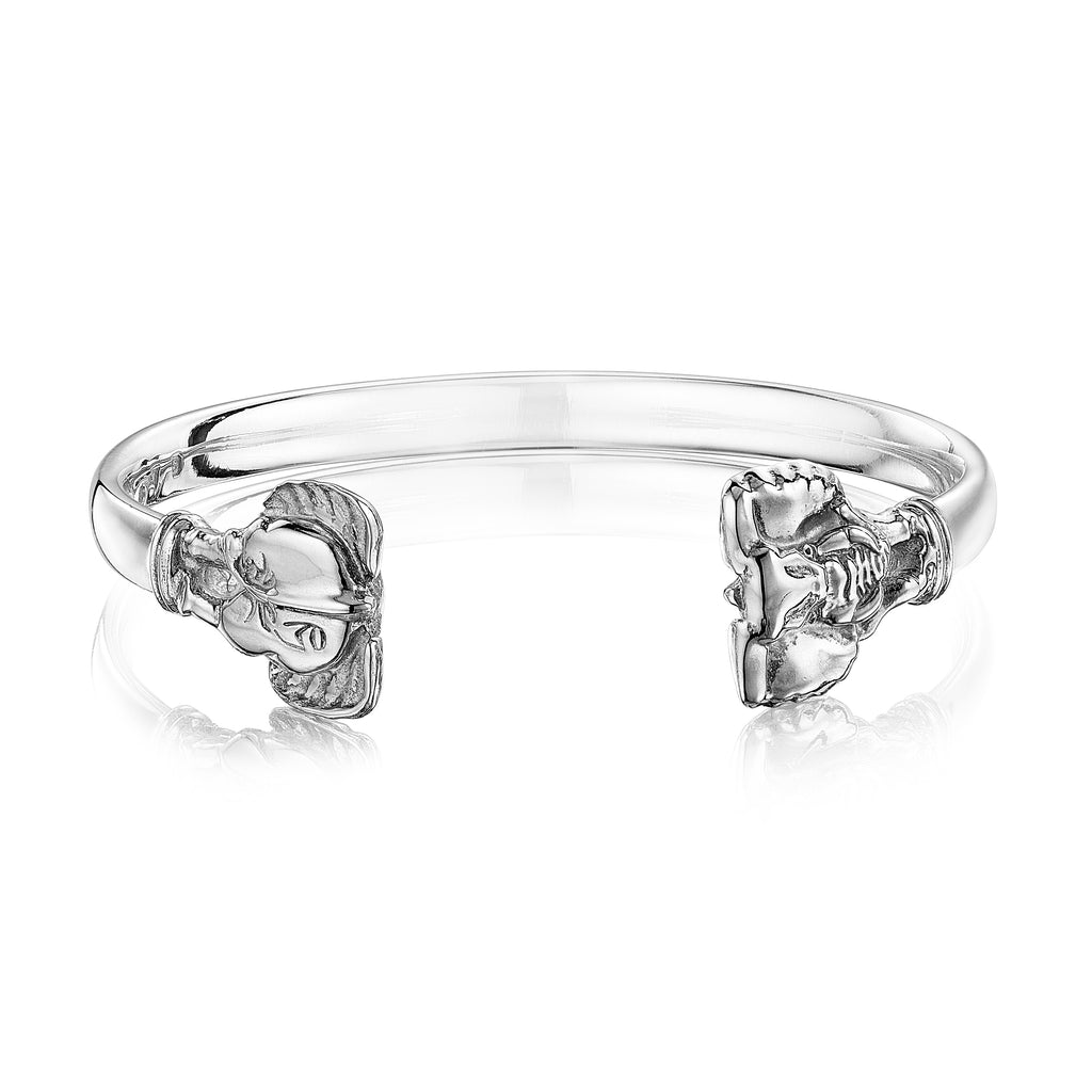 Elephant Wire Cuff in Sterling Silver
