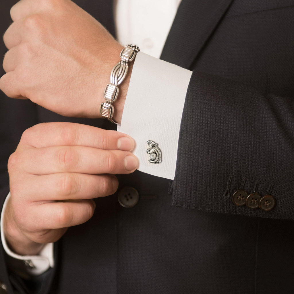 Model Wearing Rat Zodiac Cufflinks in Sterling Silver and Mens Elephant Hair Bangle in Sterling Silver