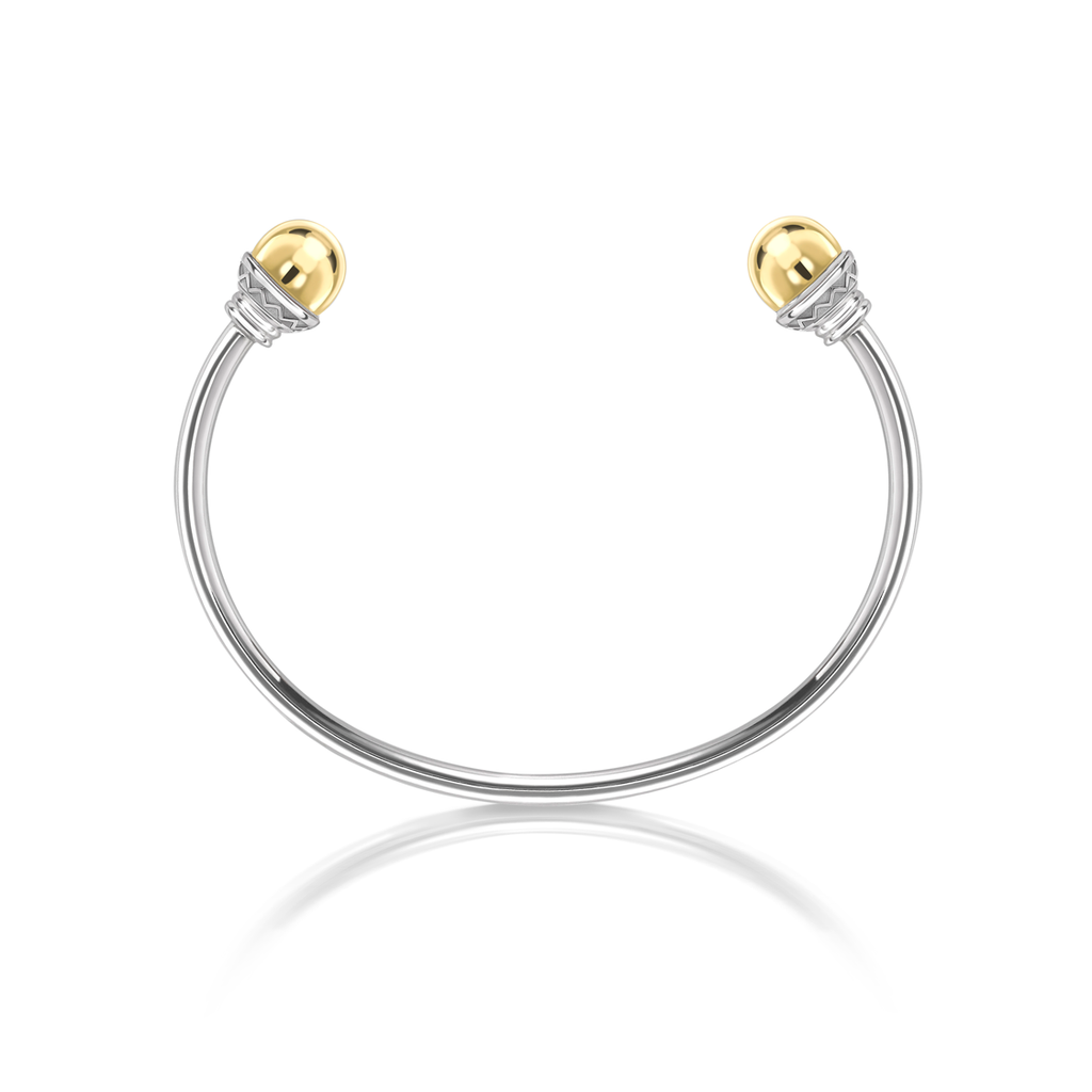 Nada Wire Cuff Bangle 18ct Gold Bead in Sterling Silver