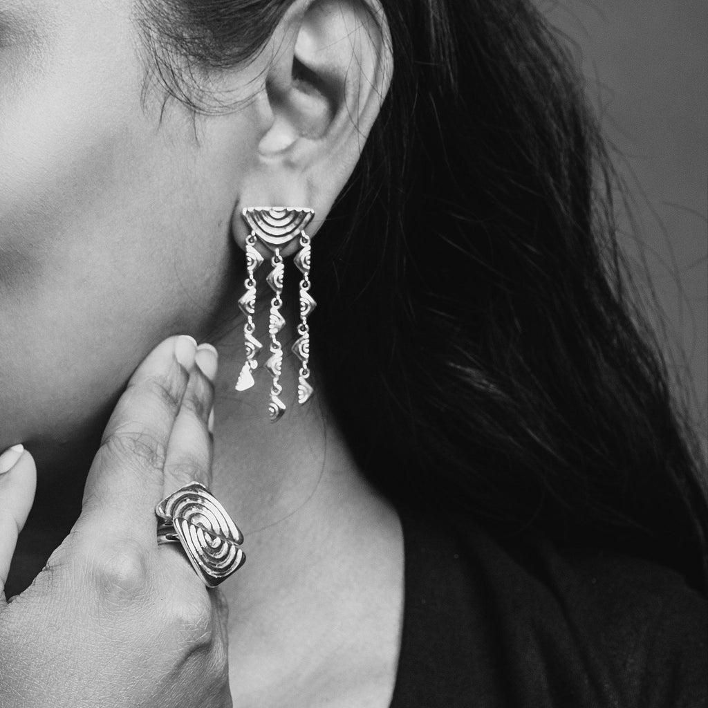 Vakadzi Chandelier Earrings in Silver