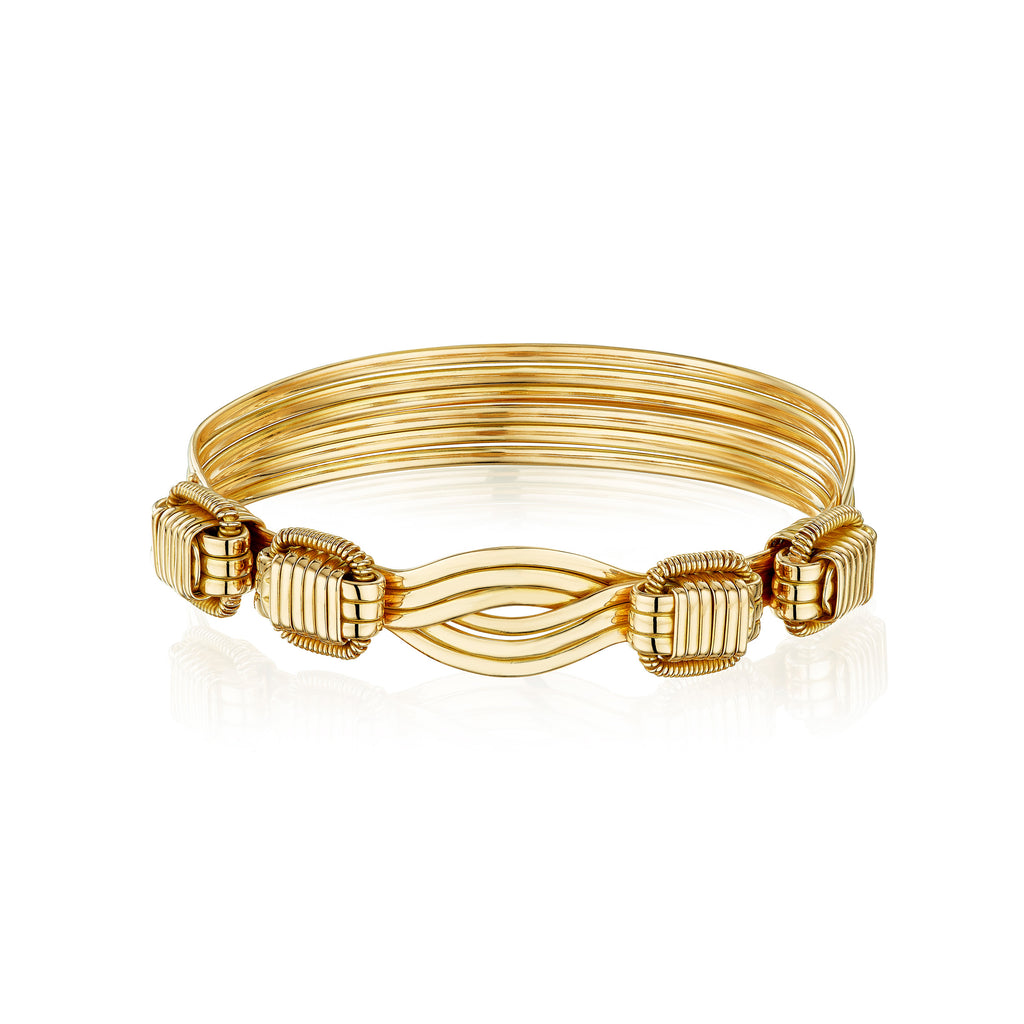 Ladies Elephant Hair Bangle in 18ct Gold