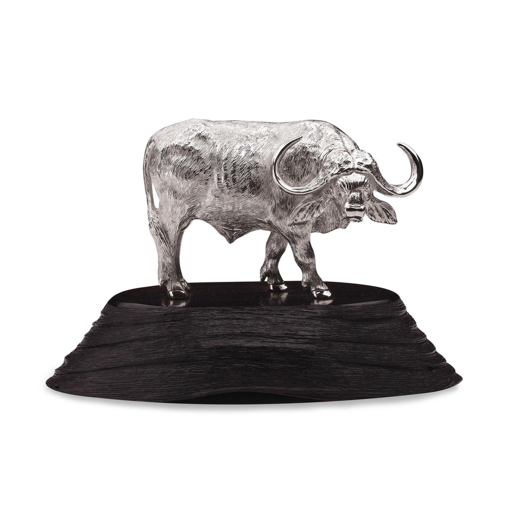 Buffalo Bull Sculpture in Sterling Silver on Zimbabwean Blackwood base - Large