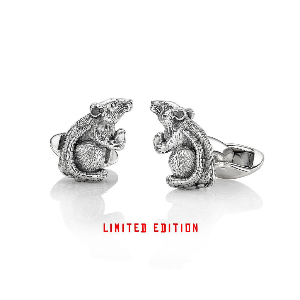 Rat Zodiac Cufflinks in Silver