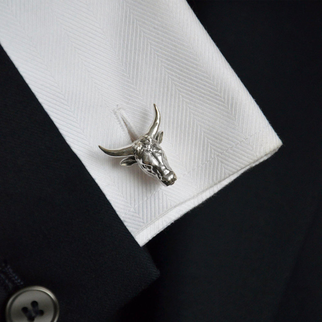 Ox Zodiac Cufflinks in Silver