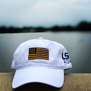 LSU Alumni Flag Hat, with purple and gold flag on front