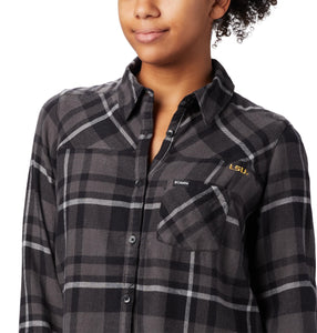 LSU Tigers Women's Columbia Flannel Black and Grey Plaid Shirt