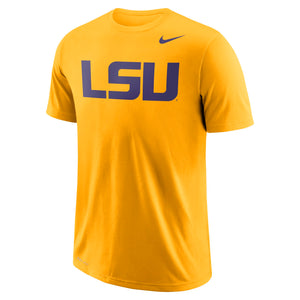 LSU Tigers Men's Nike Gold School Wordmark Performance T-Shirt