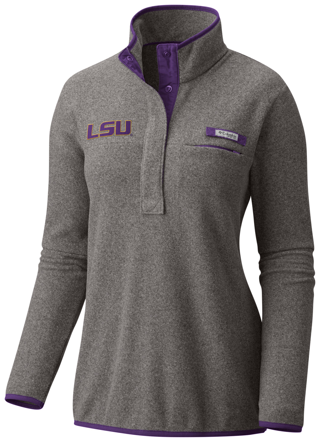 Women's LSU Columbia half-zip grey fleece