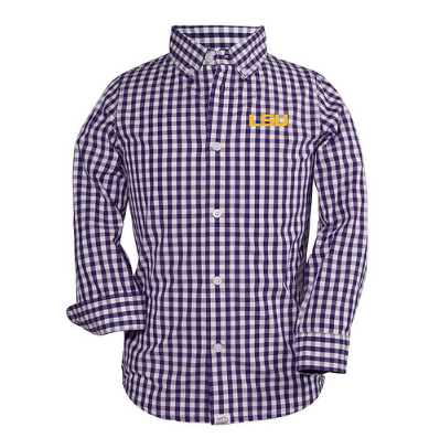 Youth LSU Purple Check Button Down