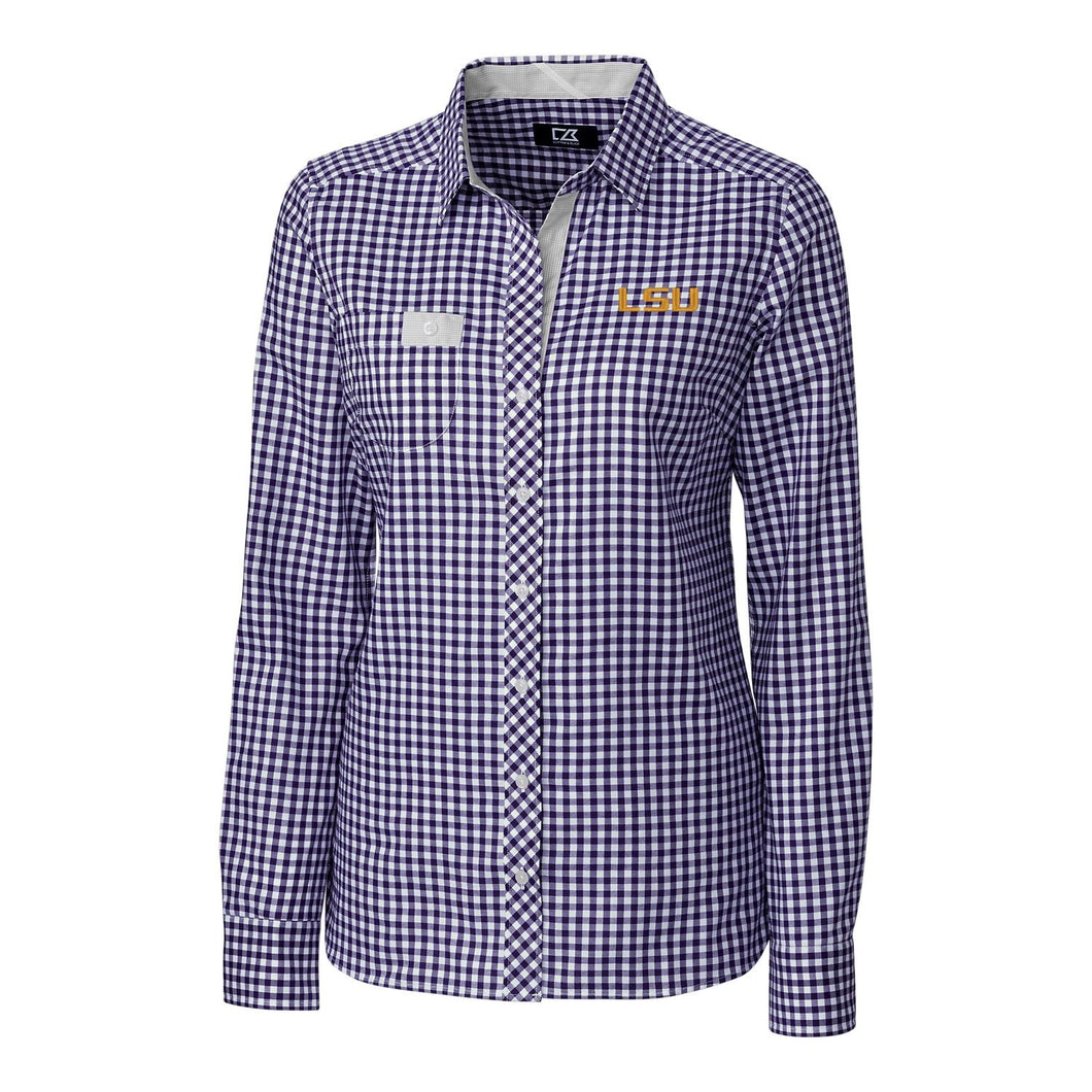 LSU Tigers Cutter & Buck Women's Long Sleeve Gingham Button Down Shirt - Purple and White