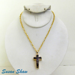 Susan Shaw  Purple Amethyst Cross with Gold
