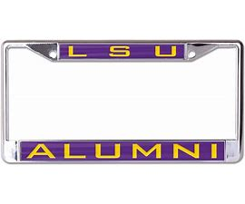 LSU Tigers Alumni License Frame Silver with Purple and Gold
