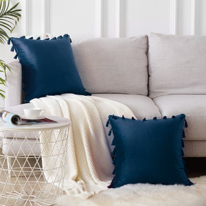 Velvet Tassel Cushion Cover