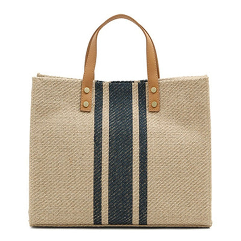 Canvas Tote With Faux Leather Straps - FURlosophie