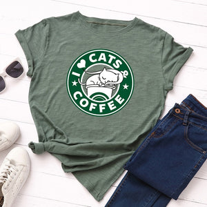 Cat & Coffee Graphic Tee - FURlosophie