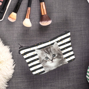 Kitty Striped Zipper Bag