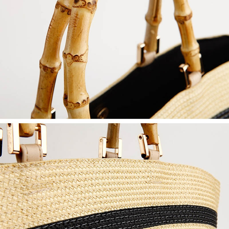Bamboo Handle Straw Tote - FURlosophie