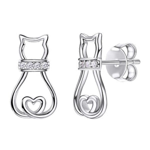 Bijoux Cat With Heart Earrings - FURlosophie