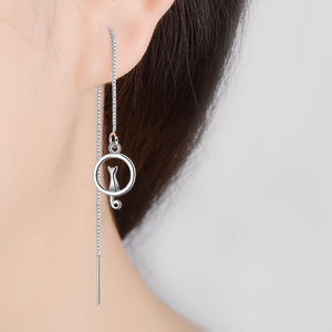 925 Sterling Silver Maxi Dangling Cat Earrings - FURlosophie
