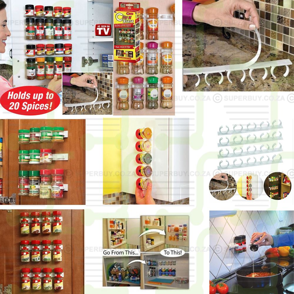 20 Set Clip n Store Spice Bottle Organiser