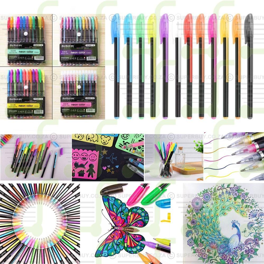 12 Color Gel Ink Pens (Highlighter Ink)